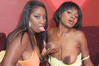 Two Hot Thick Ebony Sluts Dildo Fuck Each Other