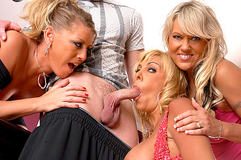 Three Horny Moms Have Some Fun With A Hot Young Stud