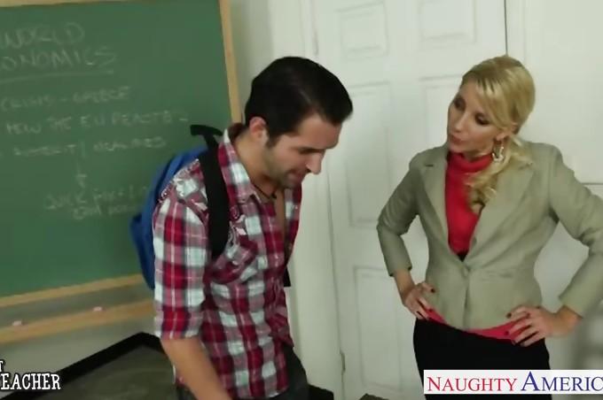 Slutty Blonde Teacher Ashley Fires Fucks Her Favorite Student