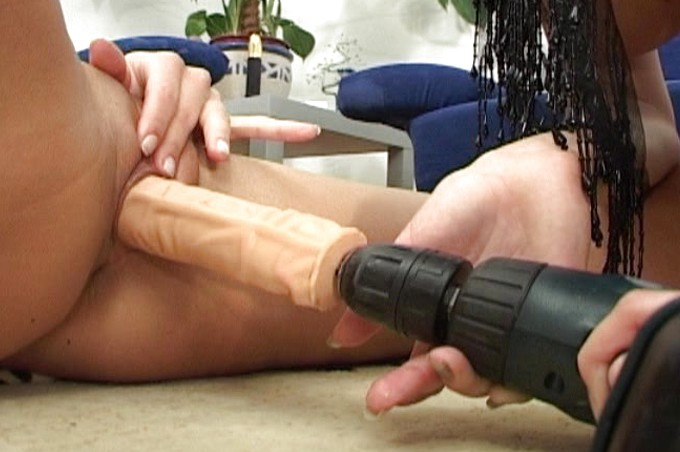 Hot Lesbians Use A Cordless Drill For Pussy Pleasure
