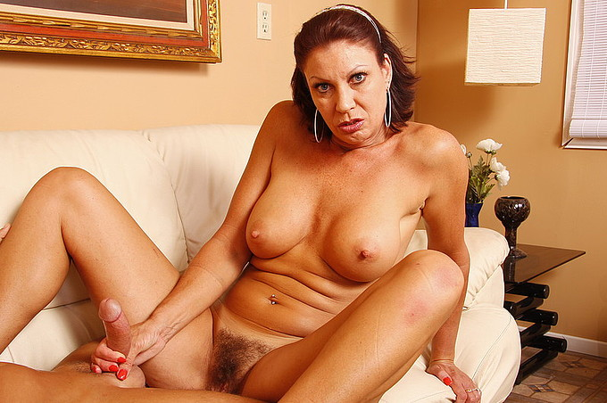 Hot Brunette Milf Jerks Her Boyfriends Cock