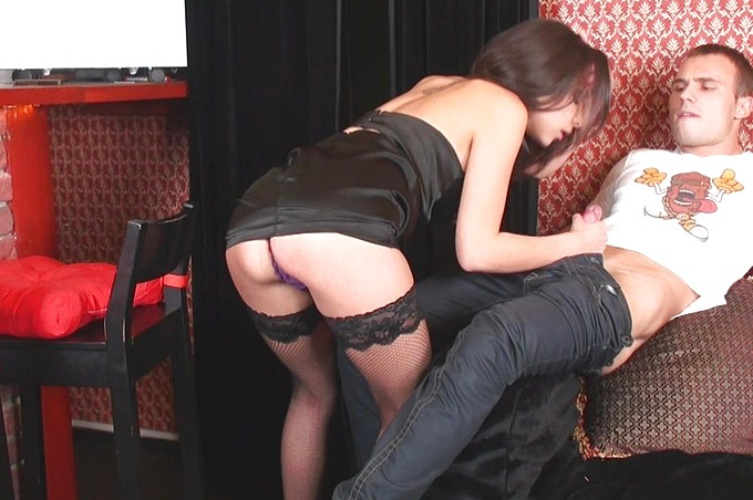One Dirty Brunette Slut Gets Fucked By The Bartender.