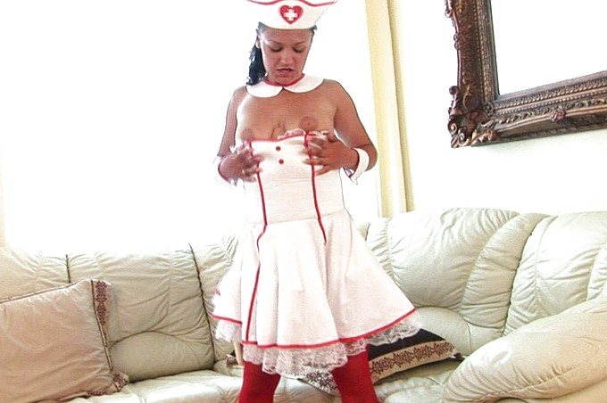 Mila The Hot Nurse Wants To Show Off Her Costume And Toys