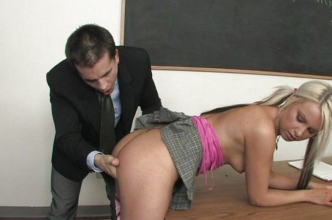 Young Blond Pays Teacher With Her Busty Body