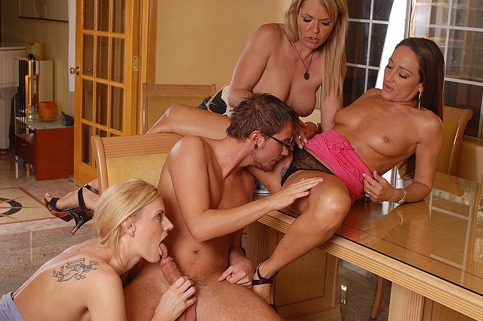 dane cross takes on three horny hotties at once