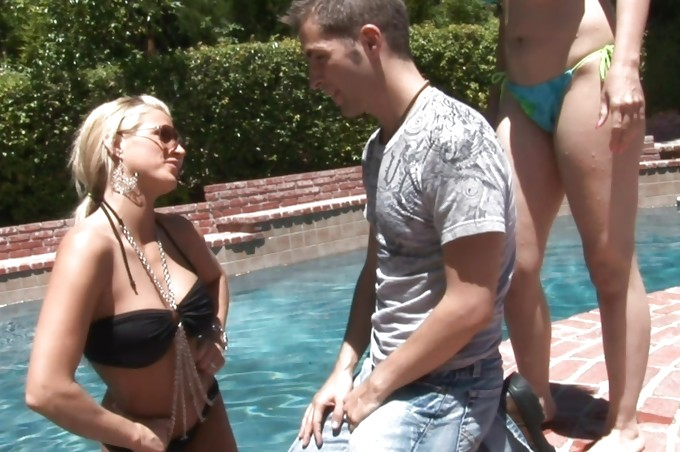 Three Hot Sluts Have A Pool Party With Kris Slater