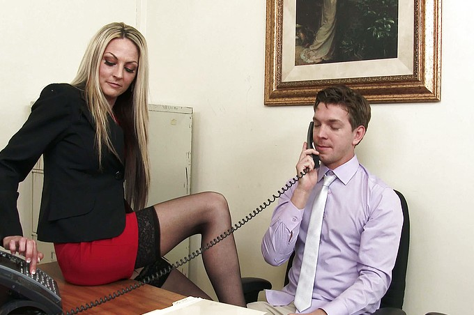 Blonde MILF Boss in Sexy Stockings Always Gets Her Way!
