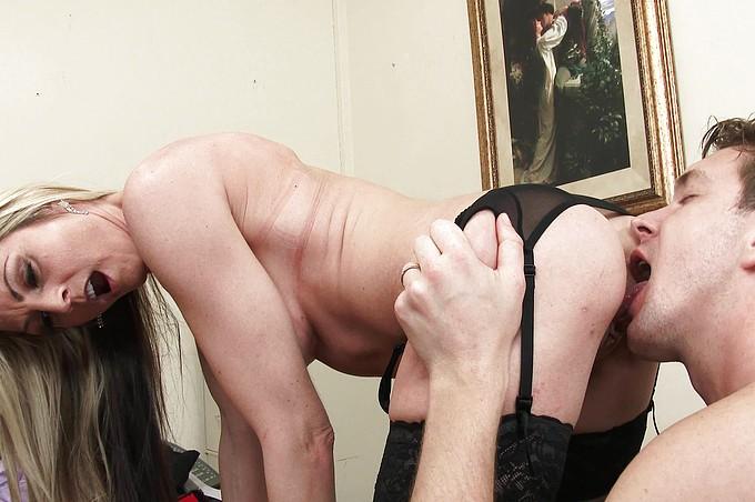 Blonde MILF Boss in Sexy Stockings Always Gets Her Way!